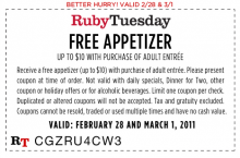 image regarding Ruby Tuesday Printable Coupons referred to as printable coupon eShopper Discussion board